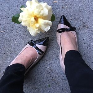 Miu Miu nude and black patent leather flats!  SEXY
